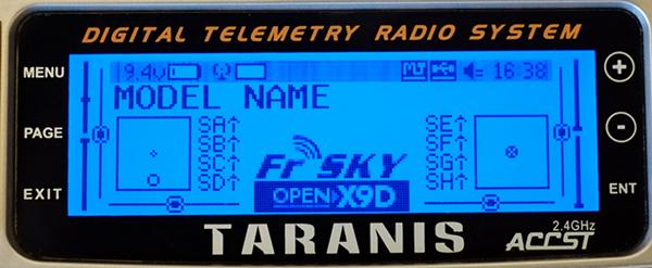 Taranis x9d de FR-SKY - écran