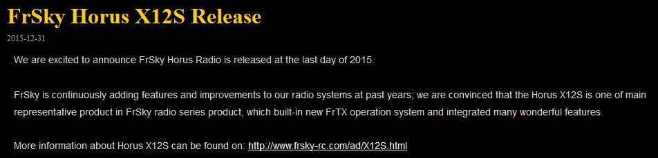 Horus X12S de FrSKy - Release Note.